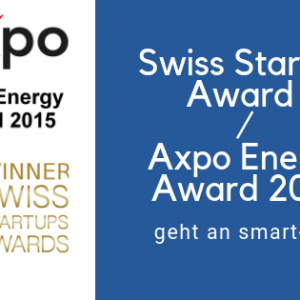 smart-me erhält Swiss Startup Award / Axpo Energy Award 2015