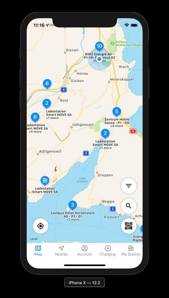 eCarUp App Map Charging Stations
