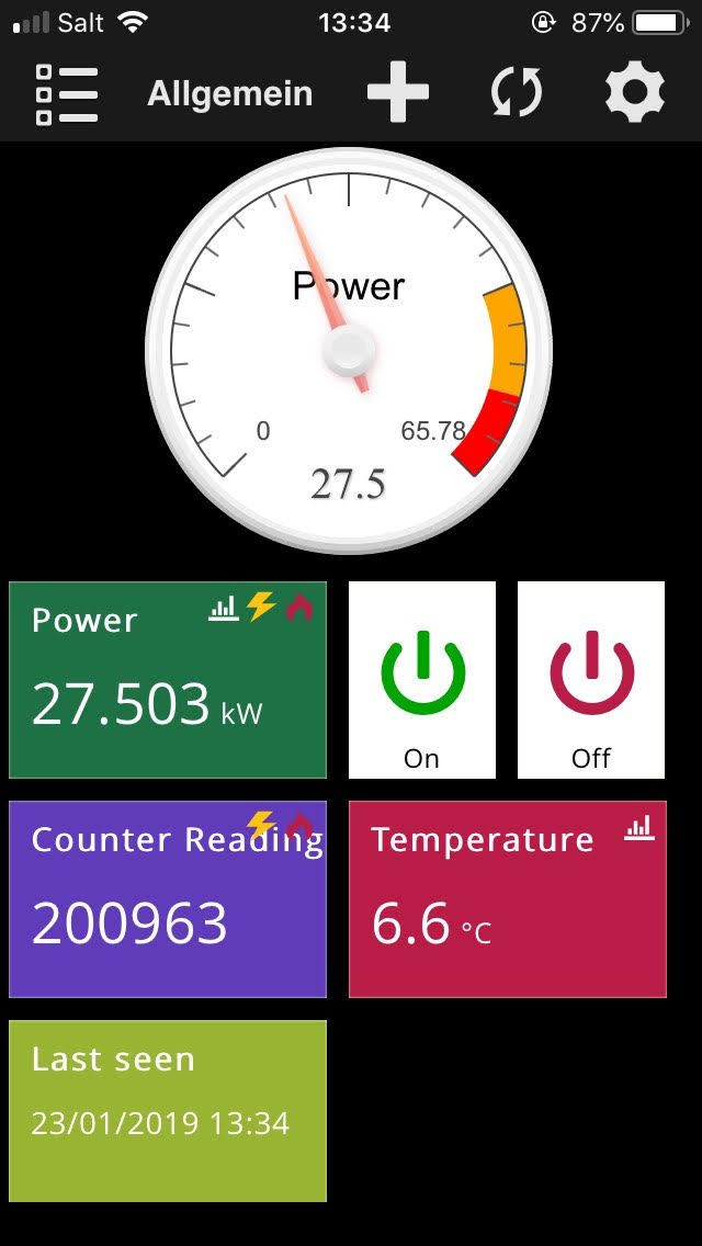 View of a smart-me Plug in the smart-me App. It shows the live power consumption, the counter reading, the temperature and the on / off switch.
